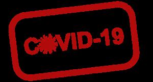 Warnhinweis mit der Aufschrift COVID-19